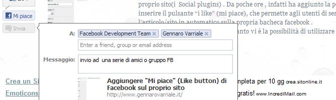 Inserire il pulsante Invia di facebook (send) in una pagina